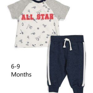 Newborn Boys 2 Piece Pant Set, 6-9 months